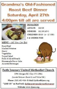 Roast Beef Dinner - 64th Semi-Annual, April 27th @4pm @ Faith Journey United Methodist Church | Clay | New York | United States